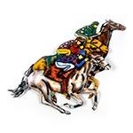 Placa Cavalos em Metal Laqueado - 70x60 cm