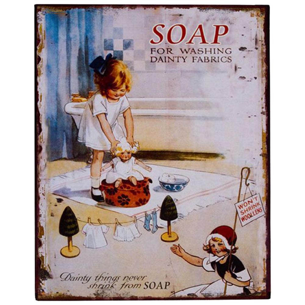Placa Children Soap em Metal - 25x20 cm