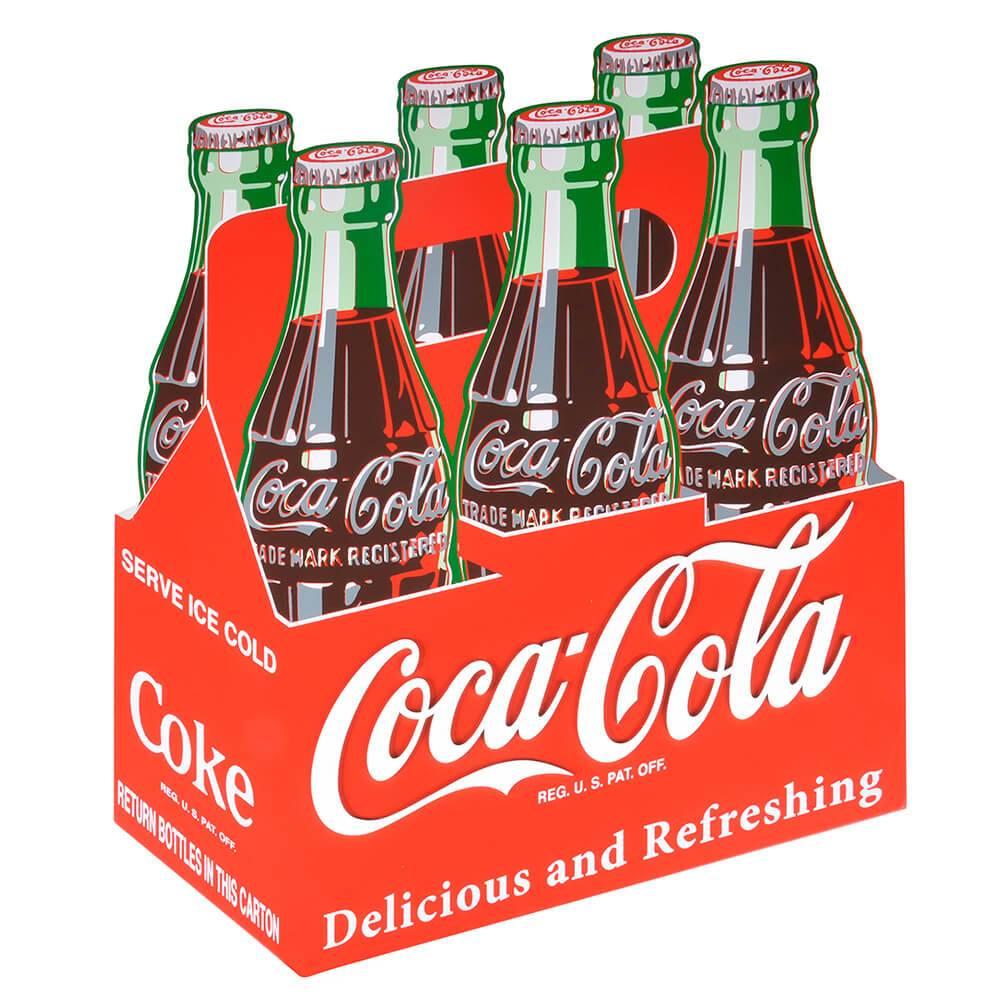 Placa Coca-Cola 6 Pack Sing Colorido em Madeira - Urban - 42x39 cm