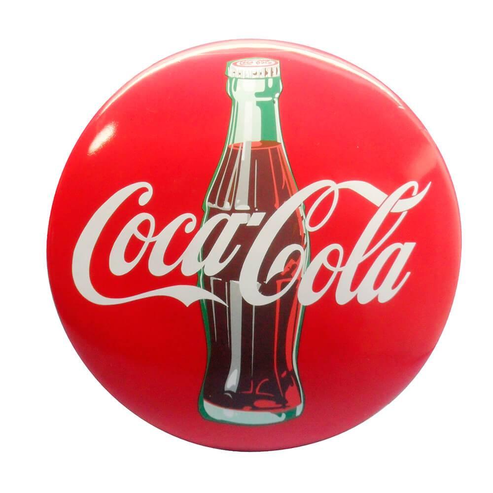Placa Coca-Cola Button Sign 3D em Resina - Urban - 43,5x33 cm