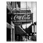 Placa Coca-Cola Drug Store Sign Preto e Branco em Madeira - Urban - 50x36,6 cm