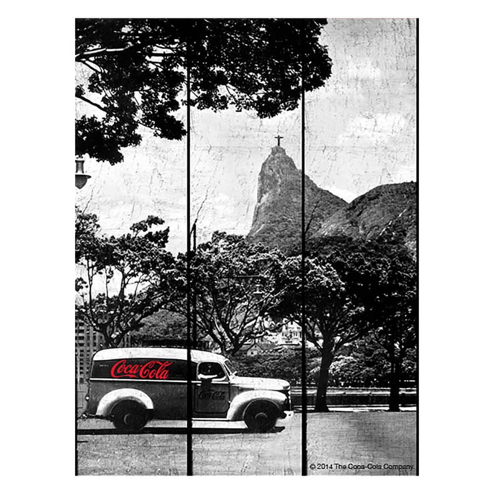 Placa Coca-Cola Landscape Rio de Janeiro Preto e Branco em Madeira - Urban - 50x36,6 cm