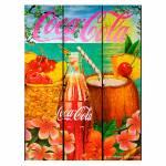 Placa Coca-Cola Tropical Flavor Colorido em Madeira - Urban - 50x36,6 cm