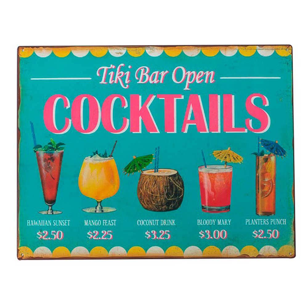 Placa Cocktails Colorido em Metal - 40x31 cm