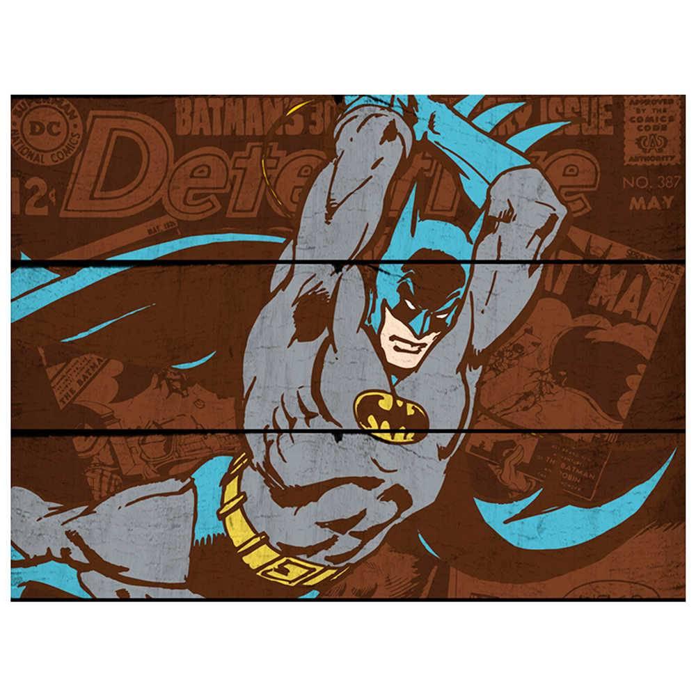Placa DC Comics Batman Attacking Position Marrom em Madeira - Urban - 50x36,6 cm