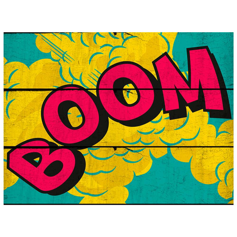 Placa DC Comics Big Boom Amarela e Azul em Madeira - Urban - 50x36,6 cm