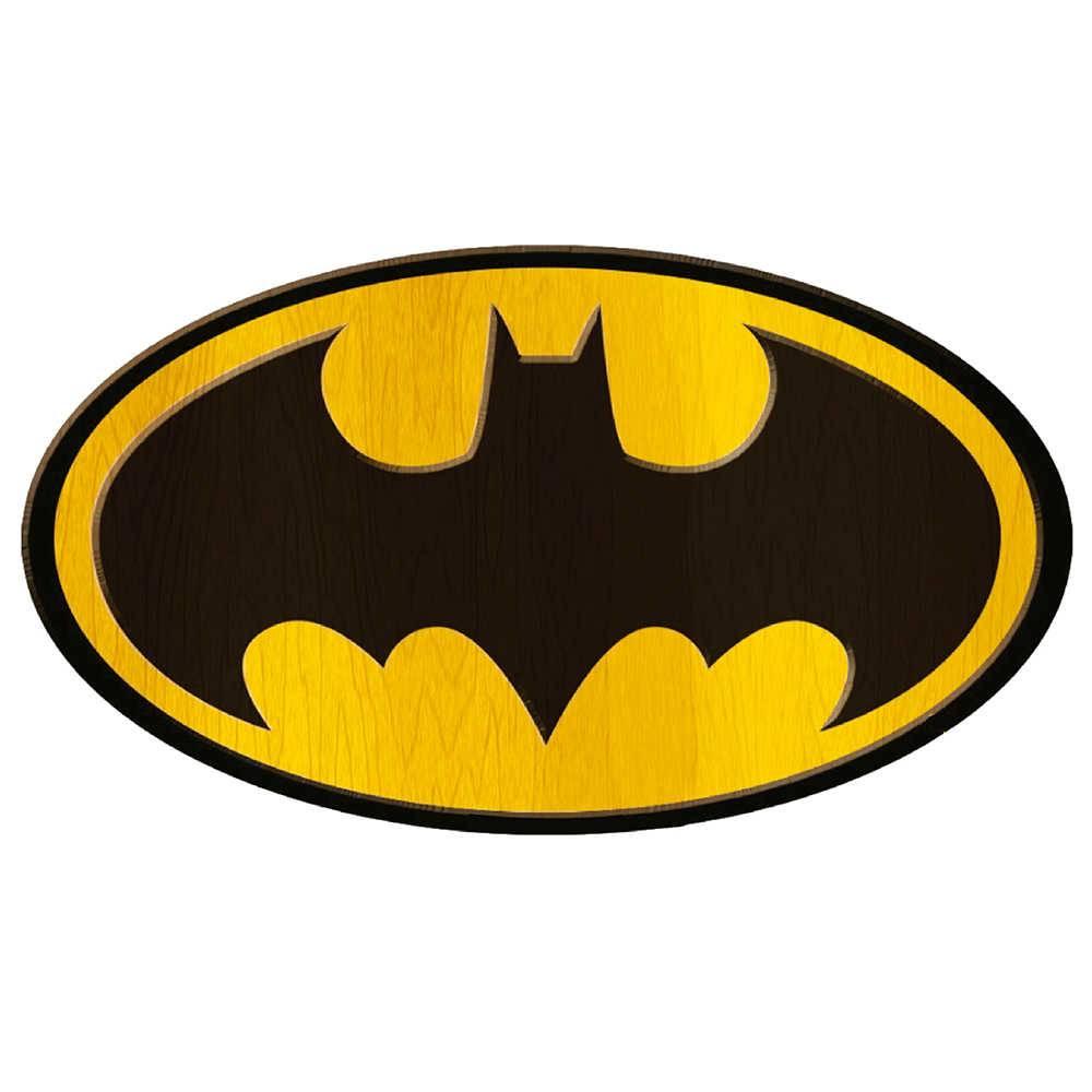 Placa DC Comics Logo Big Batman Preto e Amarelo em Madeira - Urban - 30x40 cm