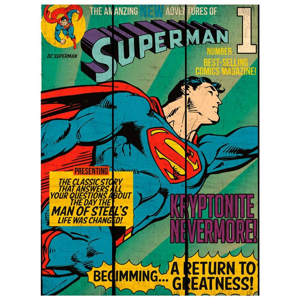 Placa DC Comics Superman Flying Azul em Madeira - Urban - 50x36,6 cm