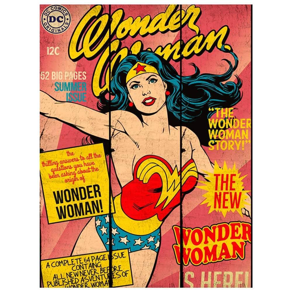 Placa DC Comics WW Cover Page Rosa em Madeira - Urban - 50x36,6 cm