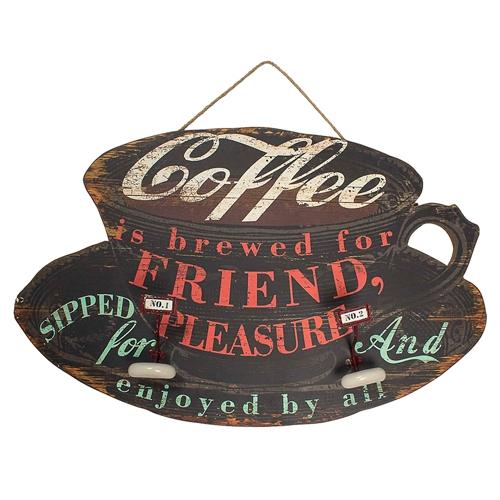 Placa Decorativa com 2 Ganchos Coffe em Madeira - 91x57 cm