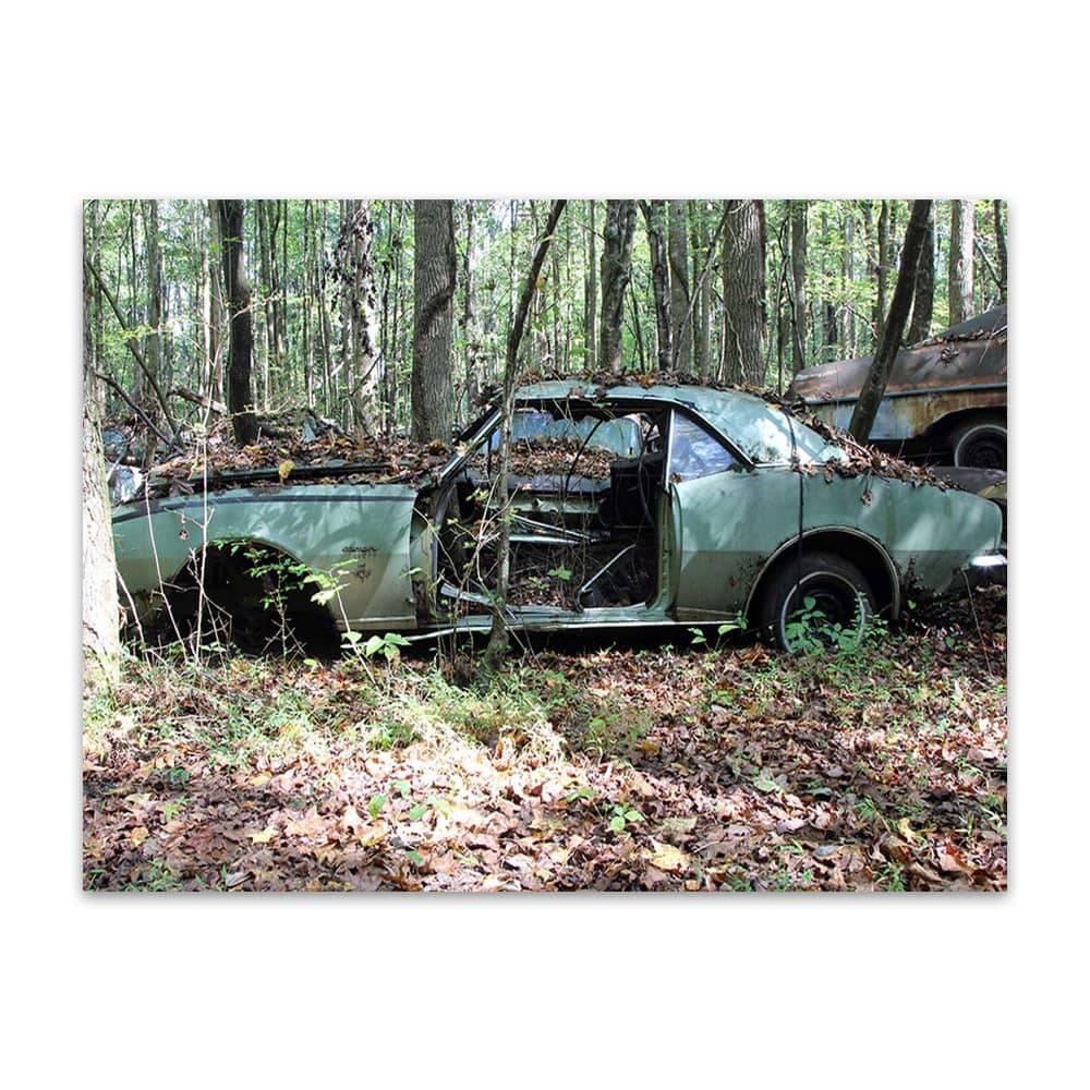 Placa Decorativa Abandoned Car Média em Metal - 30x20cm