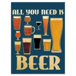 Placa Decorativa All You Need Is Beer Azul Média em Metal - 30x20 cm