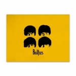 Placa Decorativa Amarela The Beatles Grande em Metal
