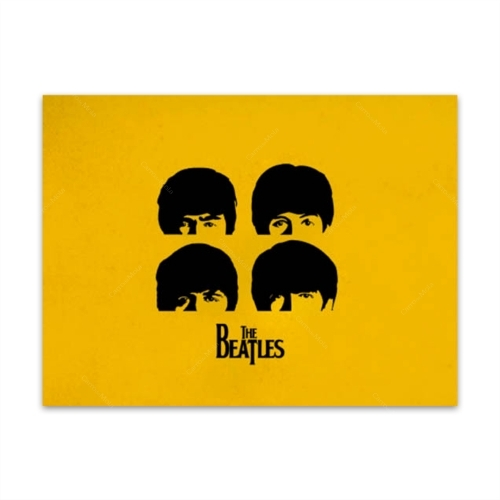 Placa Decorativa Amarela The Beatles Grande em Metal - 40x30 cm