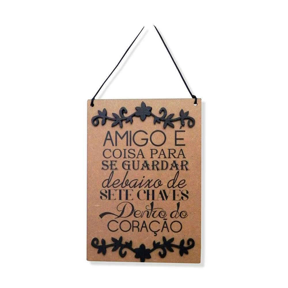 Placa Decorativa Amigo para se Guardar em MDF Cru com Apliques - 40x14 cm