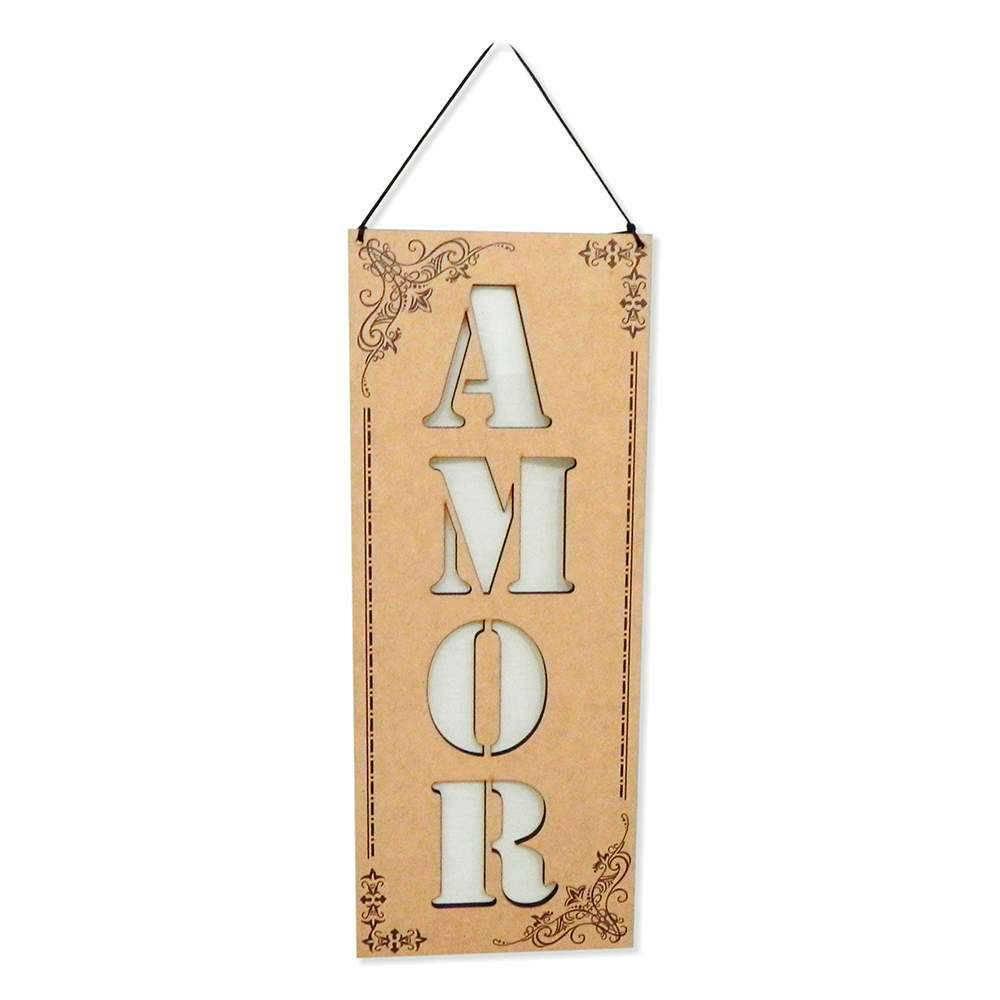 Placa Decorativa Amor em MDF Vazado - 40x14 cm