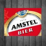 Placa Decorativa Amstel Bier com Impressão Digital em Metal - 40x30 cm