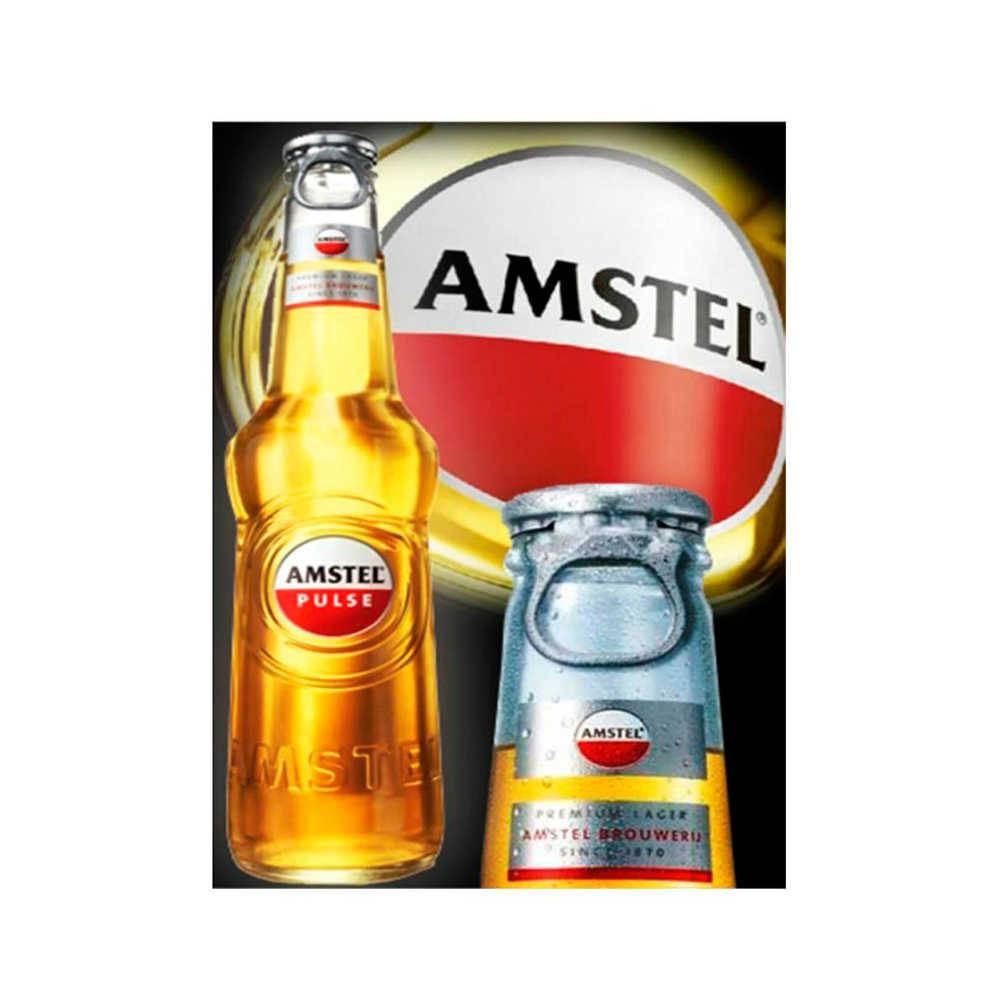 Placa Decorativa Amstel Garrafa com Impressão Digital em Metal - 30x20 cm