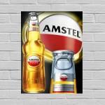 Placa Decorativa Amstel Garrafa com Impressão Digital em Metal - 40x30 cm