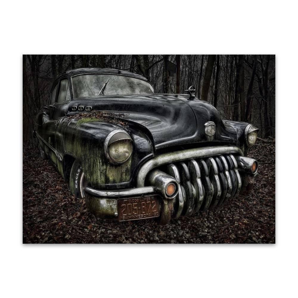 Placa Decorativa Antique Black Car Média em Metal - 30x20cm