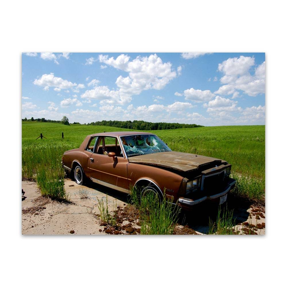 Placa Decorativa Antique Brown Car em Metal - 40x30cm