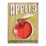 Placa Decorativa Apples Fundo Verde em MDF - 40x30 cm