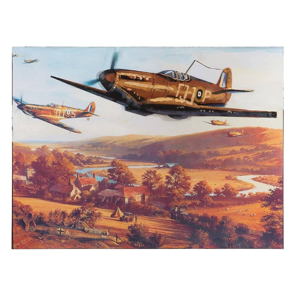 Placa Decorativa Aviões de Combate sob a Aldeia Colorida em Ferro - 60x45 cm