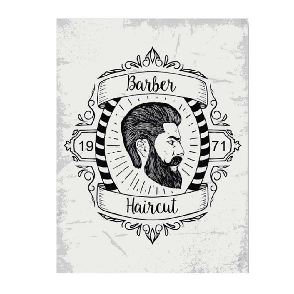 Placa Decorativa Barber Haircut Branca com Impressão Digital em Metal - 30x20 cm