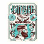 Placa Decorativa Barber Shop com Impressão Digital em Metal - 30x20 cm