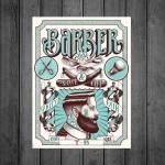 Placa Decorativa Barber Shop com Impressão Digital em Metal - 40x30 cm