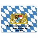 Placa Decorativa Baviera Azul e Branco Grande em Metal - 40x30 cm