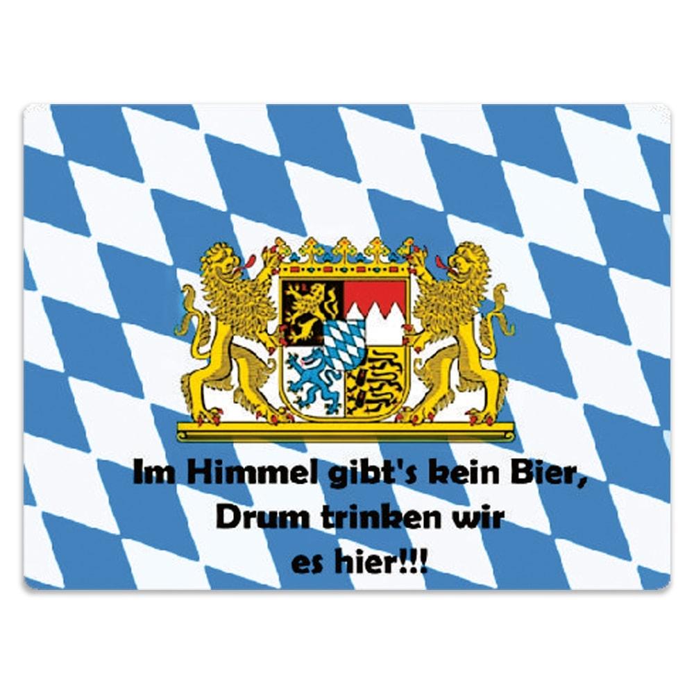 Placa Decorativa Baviera Azul e Branco Média em Metal - 30x20 cm
