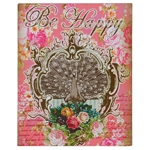 Placa Decorativa Be Happy em Metal - 28x22 cm