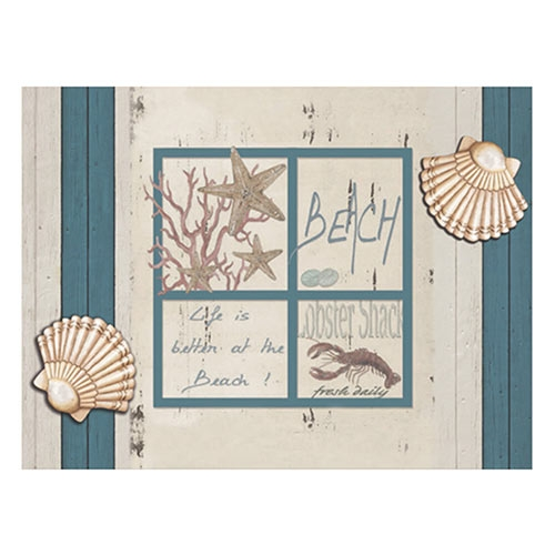 Placa Decorativa Beach Grande em Metal - 40x30cm