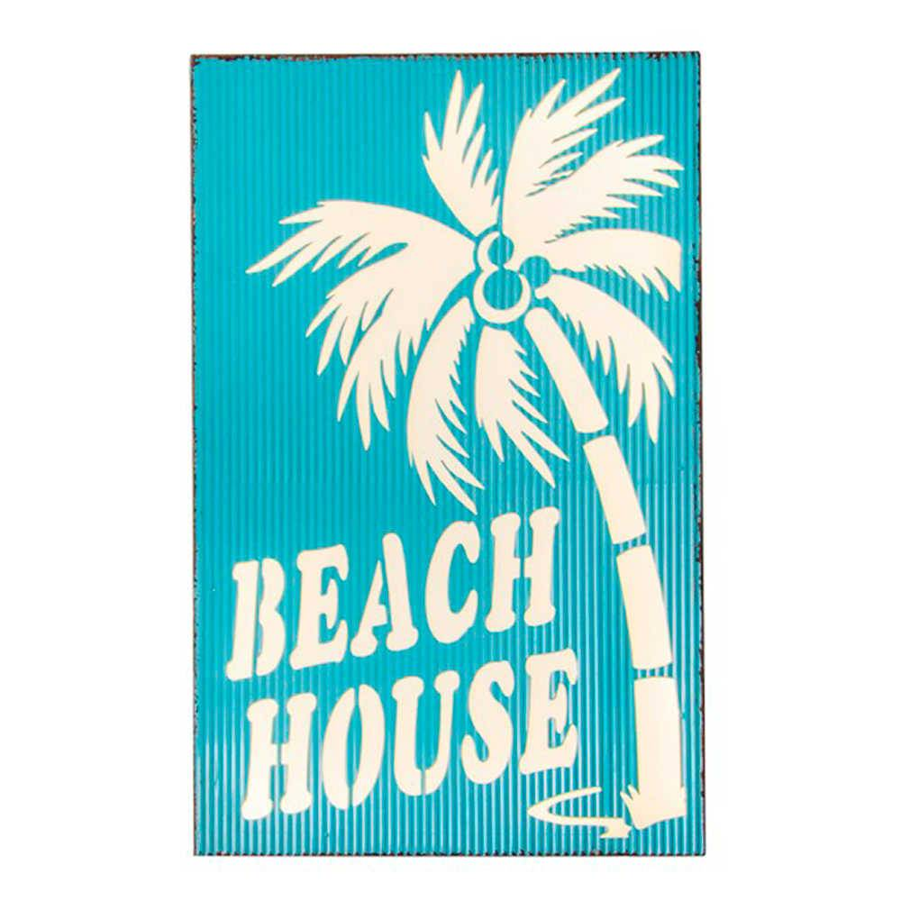 Placa Decorativa Beach House Azul em Metal - 56x35 cm