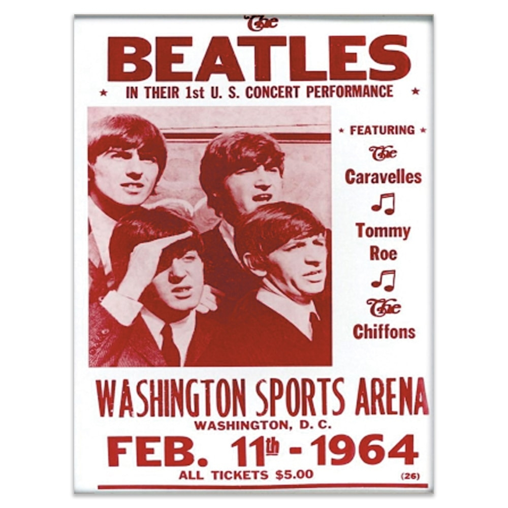 Placa Decorativa Beatles Concert Vermelha Grande em Metal - 40x30 cm