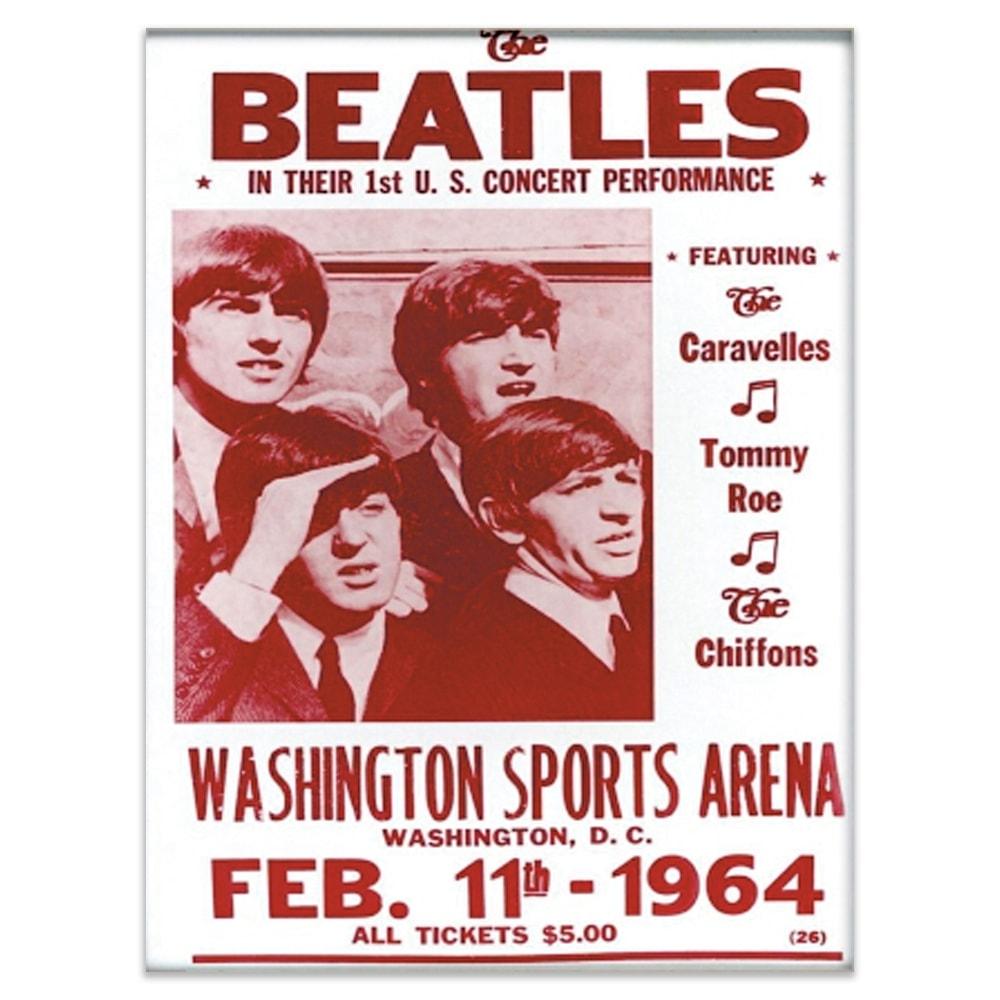 Placa Decorativa Beatles Concert Vermelha Média em Metal - 30x20 cm