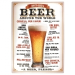 Placa Decorativa Beer Around The World Grande em Metal - 40x30cm