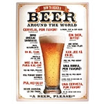 Placa Decorativa Beer Around The World Média em Metal - 30x20cm