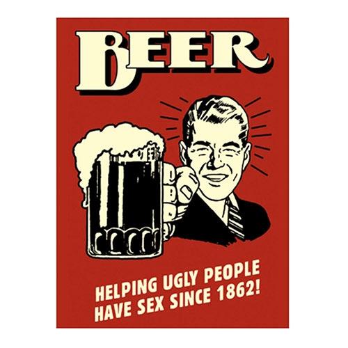 Placa Decorativa Beer Helping Grande em Metal - 40x30cm