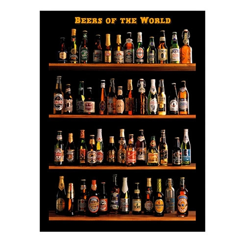 Placa Decorativa Beers Of The World Grande em Metal - 40x30cm