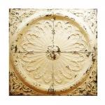 Placa Decorativa Bege Shabby Chic em Metal - 122x122 cm