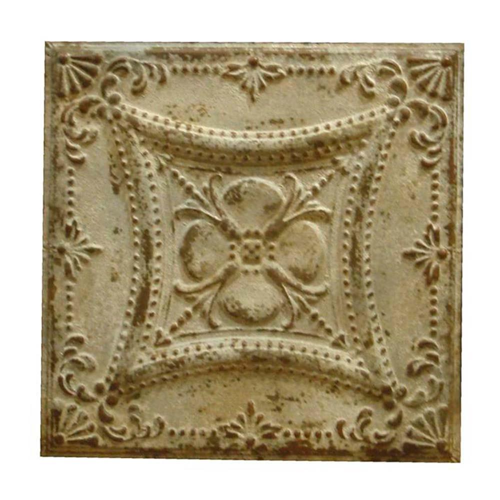 Placa Decorativa Bege Vintage em Metal - 62x62 cm