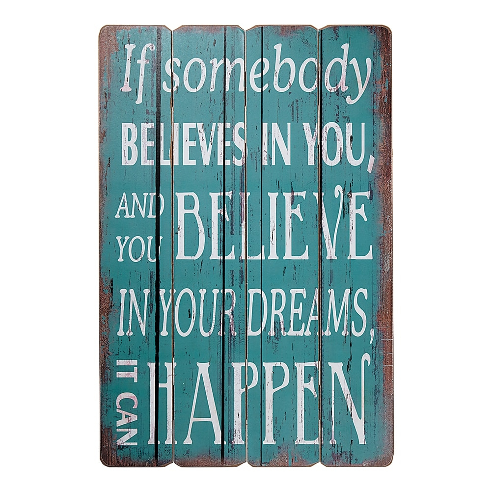 Placa Decorativa Believe In Your Dreams Azul em MDF - 60x40 cm