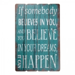 Placa Decorativa Believe In Your Dreams Azul em MDF