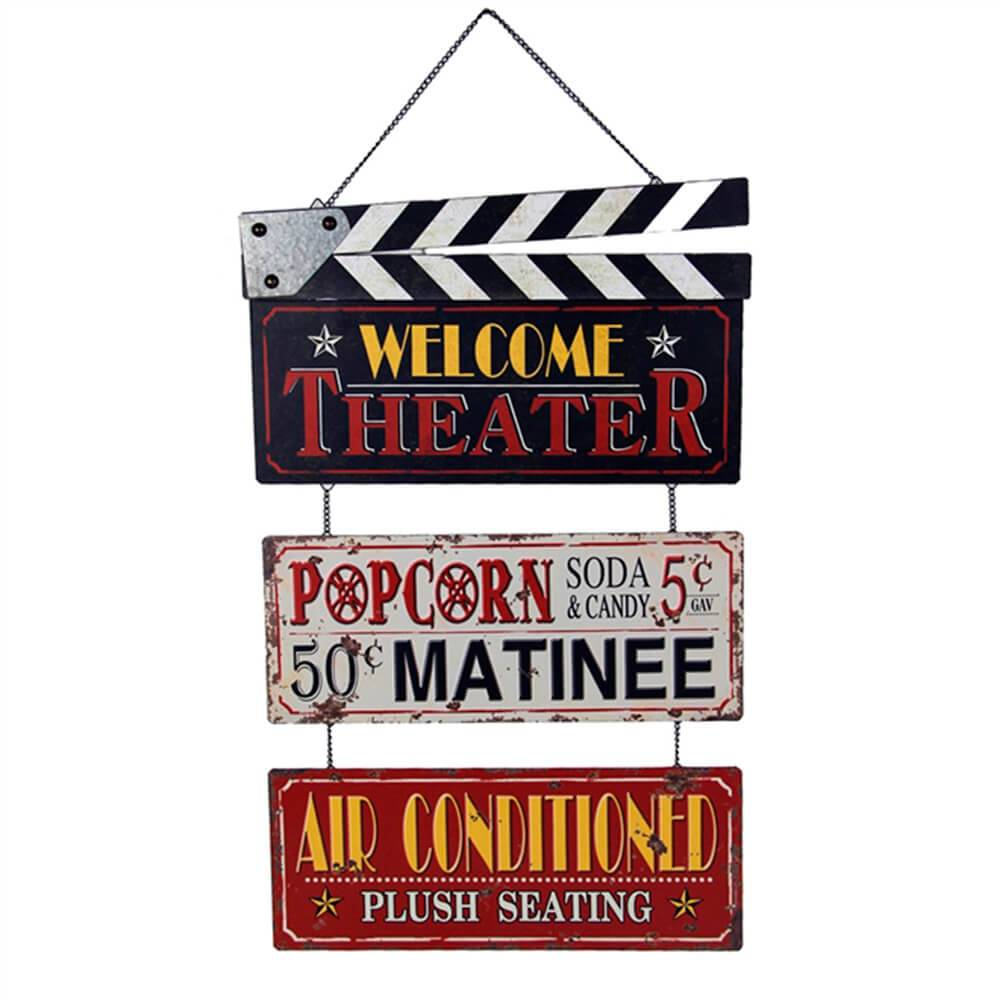 Placa Decorativa Bem-Vindo ao Teatro Multicolorido em Metal - 63x39 cm