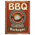 Placa Decorativa Best Barbeque Vermelho em MDF - 40x30 cm