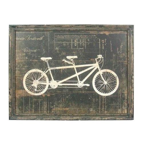 Placa Decorativa Bicicleta Dois Lugares em Madeira - 58x45 cm