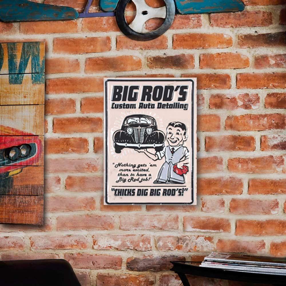 Placa Decorativa Big Rod s Branco e Preto Grande em Metal - 40x30 cm