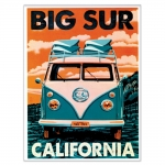 Placa Decorativa Big Sur California Verde Grande em Metal - 40x30 cm